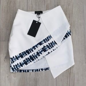 White and blue tie dye skirt